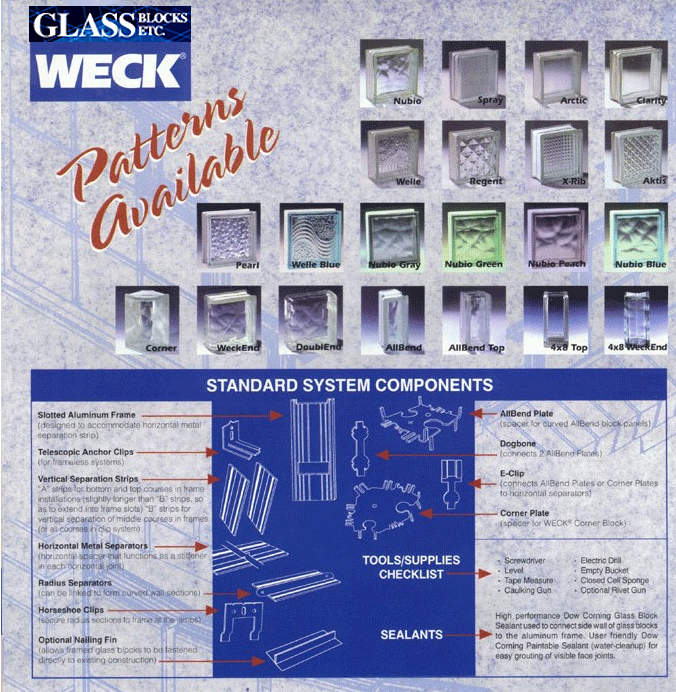 Glass Block Patterns Available