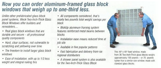 Glass Block Install Services - Pre-built Glass Block Windows